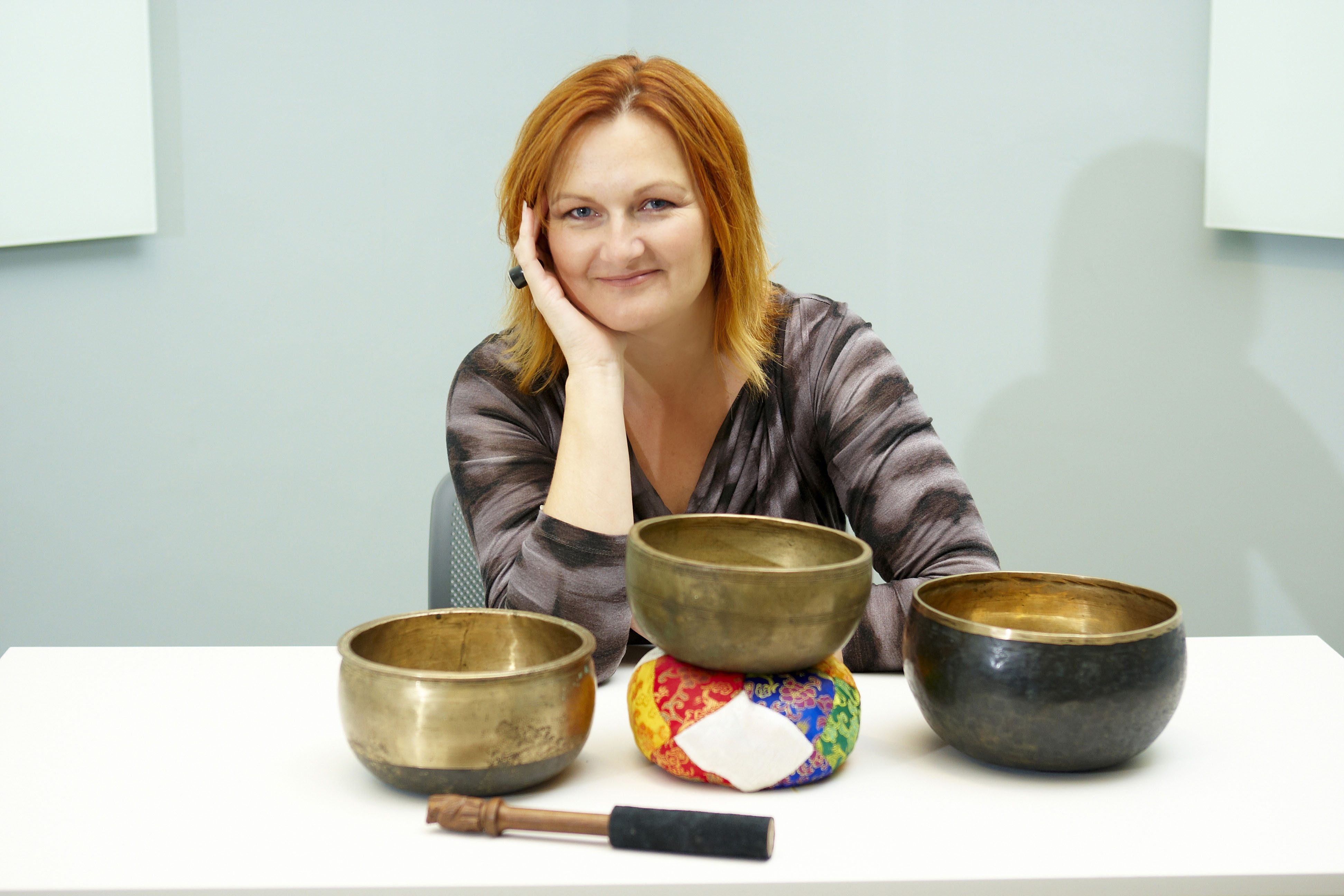 Lyz Cooper with Himalayan Bowls